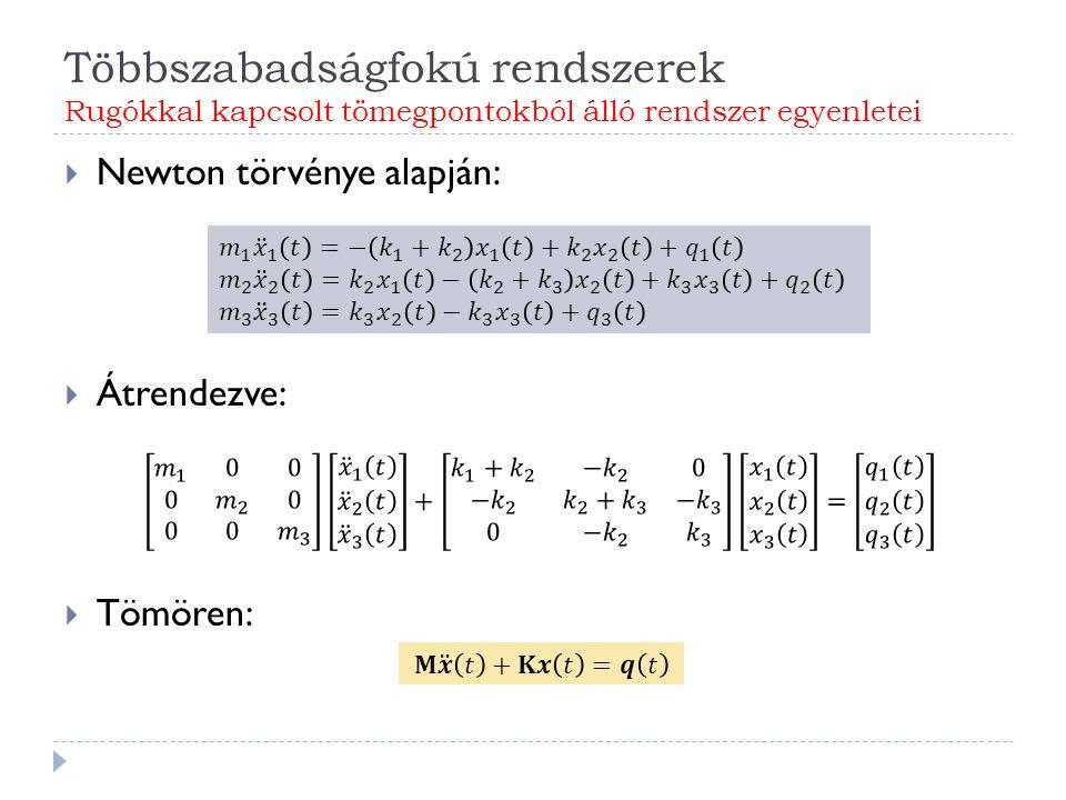 Többszabadságfokú rendszerek Rugókkal kapcsolt tömegpontokból álló rendszer egyenletei  Newton törvénye alapján:  Átrendezve:  Tömören: