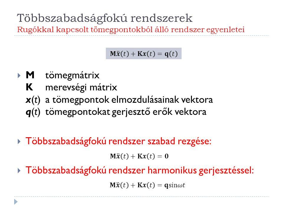 Többszabadságfokú rendszerek Rugókkal kapcsolt tömegpontokból álló rendszer egyenletei  Mtömegmátrix Kmerevségi mátrix x(t)a tömegpontok elmozdulásainak vektora q(t)tömegpontokat gerjesztő erők vektora  Többszabadságfokú rendszer szabad rezgése:  Többszabadságfokú rendszer harmonikus gerjesztéssel: