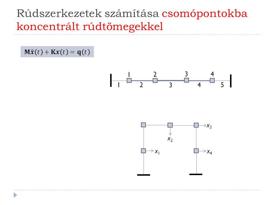 Rúdszerkezetek számítása csomópontokba koncentrált rúdtömegekkel 1 2 3 4 1 2 3 4 5 x3x3 x4x4 x2x2 x1x1