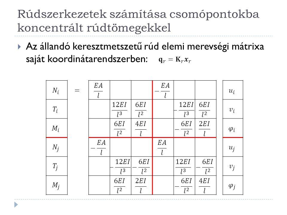  Az állandó keresztmetszetű rúd elemi merevségi mátrixa saját koordinátarendszerben: