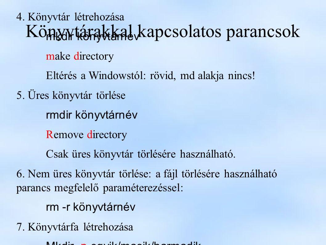 Könyvtárakkal kapcsolatos parancsok 4.
