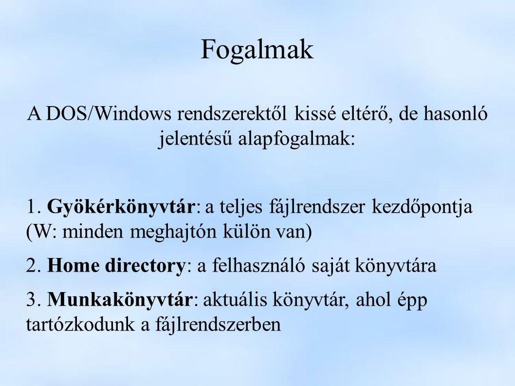 Fogalmak A DOS/Windows rendszerektől kissé eltérő, de hasonló jelentésű alapfogalmak: 1.