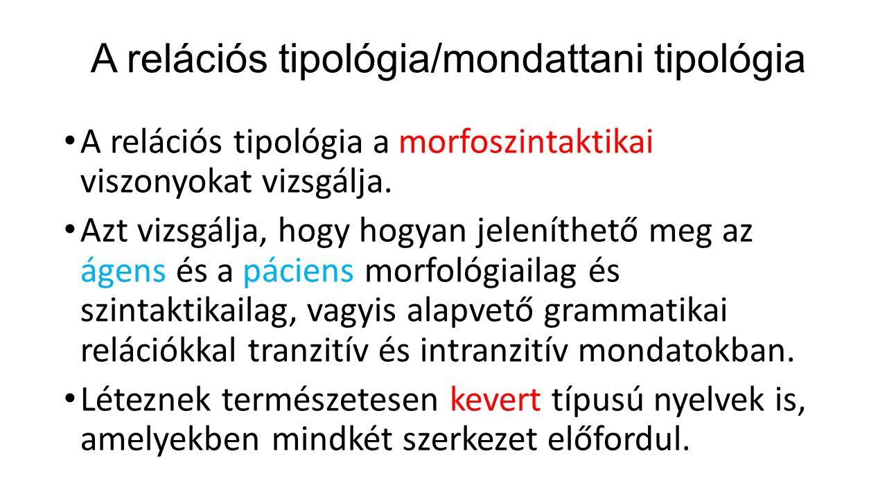 Nyelvtiplógia vizsgálatok A modern nyelvtipológia ezért ehelyett két paraméterrel dolgozik, amelyek kombinációjával a világ igen sok nyelvét lehet jellemezni.