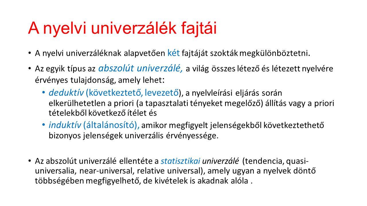 A nyelvi univerzálék A nyelvi univerzálék az összes hangzó természetes emberi nyelvre minden korban és minden helyen (azaz az emberi nyelvre általában) jellemző nyelvi sajátosságok.