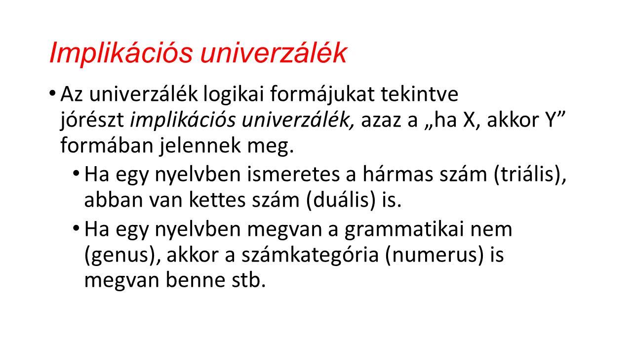 A nyelvi univerzálék fajtái A nyelvi univerzáléknak alapvetően két fajtáját szokták megkülönböztetni.