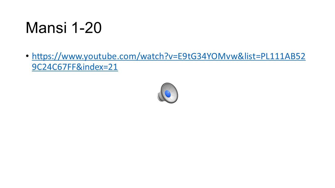Mansi 1-20 https://www.youtube.com/watch?v=E9tG34YOMvw&list=PL111AB52 9C24C67FF&index=21 https://www.youtube.com/watch?v=E9tG34YOMvw&list=PL111AB52 9C24C67FF&index=21