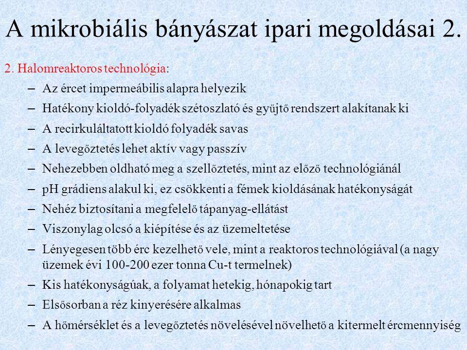 A mikrobiális bányászat ipari megoldásai 2. 2.