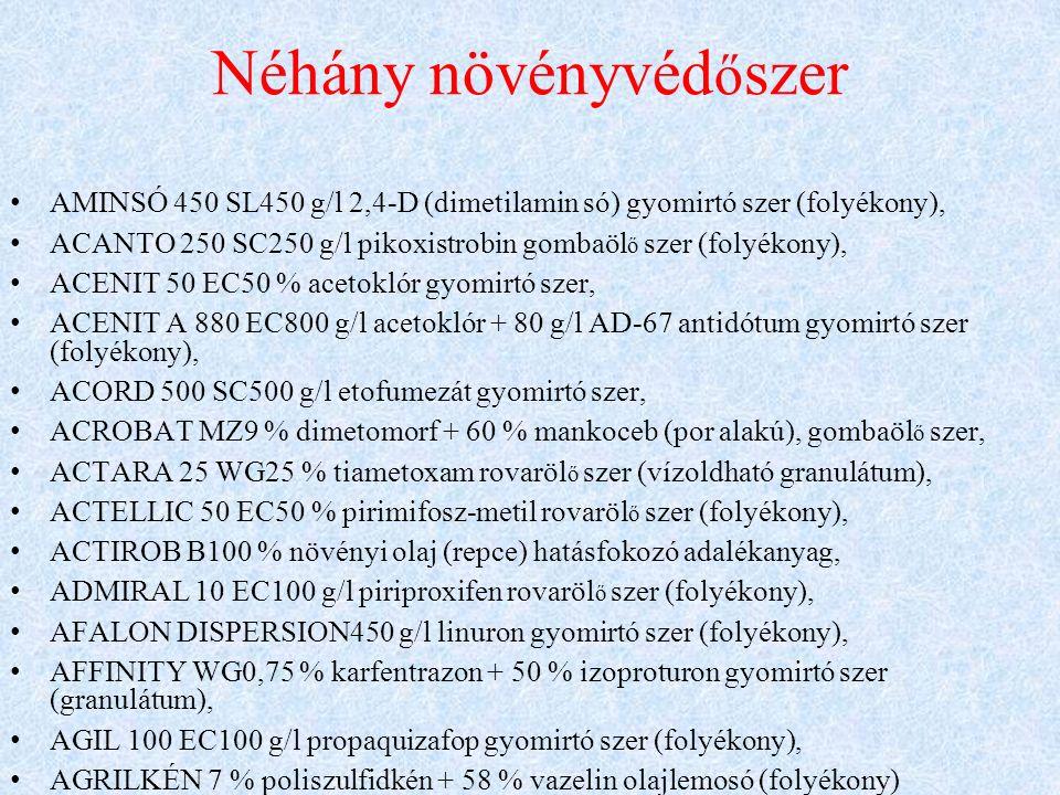 Néhány növényvéd ő szer AMINSÓ 450 SL450 g/l 2,4-D (dimetilamin só) gyomirtó szer (folyékony), ACANTO 250 SC250 g/l pikoxistrobin gombaöl ő szer (folyékony), ACENIT 50 EC50 % acetoklór gyomirtó szer, ACENIT A 880 EC800 g/l acetoklór + 80 g/l AD-67 antidótum gyomirtó szer (folyékony), ACORD 500 SC500 g/l etofumezát gyomirtó szer, ACROBAT MZ9 % dimetomorf + 60 % mankoceb (por alakú), gombaöl ő szer, ACTARA 25 WG25 % tiametoxam rovaröl ő szer (vízoldható granulátum), ACTELLIC 50 EC50 % pirimifosz-metil rovaröl ő szer (folyékony), ACTIROB B100 % növényi olaj (repce) hatásfokozó adalékanyag, ADMIRAL 10 EC100 g/l piriproxifen rovaröl ő szer (folyékony), AFALON DISPERSION450 g/l linuron gyomirtó szer (folyékony), AFFINITY WG0,75 % karfentrazon + 50 % izoproturon gyomirtó szer (granulátum), AGIL 100 EC100 g/l propaquizafop gyomirtó szer (folyékony), AGRILKÉN 7 % poliszulfidkén + 58 % vazelin olajlemosó (folyékony)
