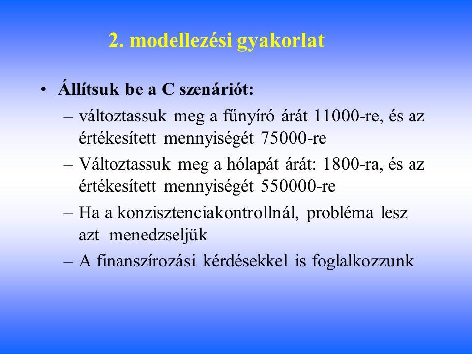 2. modellezési gyakorlat Állítsuk be a C szenáriót: –változtassuk meg a fűnyíró árát 11000-re, és az értékesített mennyiségét 75000-re –Változtassuk m