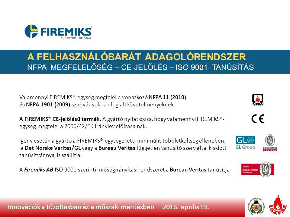 Innovációk a tűzoltásban és a műszaki mentésben – 2016.