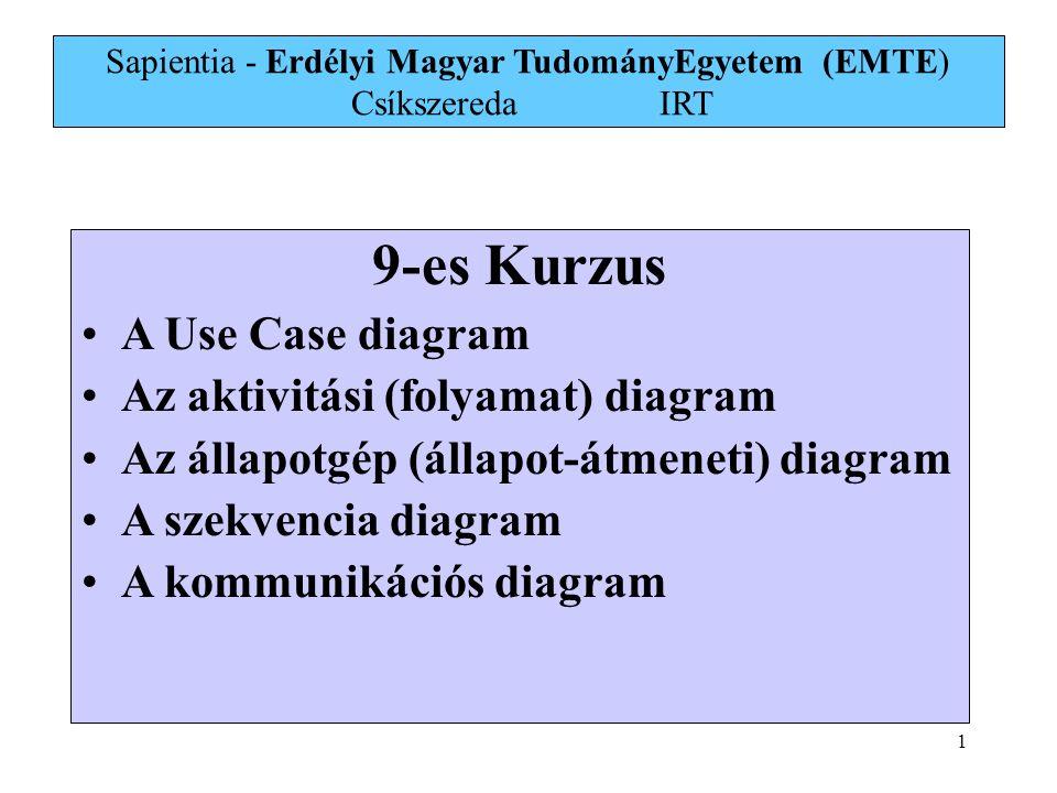 2 Viselkedési-és kölcsönhatás diagramok Viselkedési diagramok: 1.Aktivitási diagram 2.Állapotgép diagram 3.Use Case (használati eset) diagram Kölcsönhatási diagramok: 1.Kommunikációs diagram 2.Szekvencia-diagram 3.Interaction overview diagram (UML 2) 4.UML Timing diagram (UML 2)