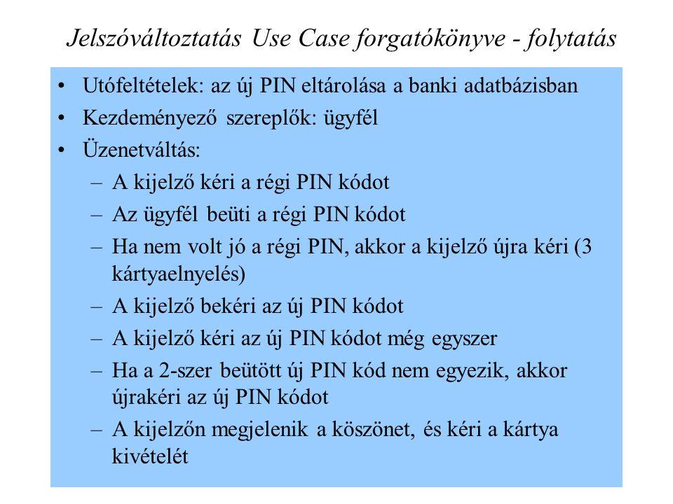 9 Jelszóváltoztatás Use Case forgatókönyve - folytatás Utófeltételek: az új PIN eltárolása a banki adatbázisban Kezdeményező szereplők: ügyfél Üzenetváltás: –A kijelző kéri a régi PIN kódot –Az ügyfél beüti a régi PIN kódot –Ha nem volt jó a régi PIN, akkor a kijelző újra kéri (3 kártyaelnyelés) –A kijelző bekéri az új PIN kódot –A kijelző kéri az új PIN kódot még egyszer –Ha a 2-szer beütött új PIN kód nem egyezik, akkor újrakéri az új PIN kódot –A kijelzőn megjelenik a köszönet, és kéri a kártya kivételét