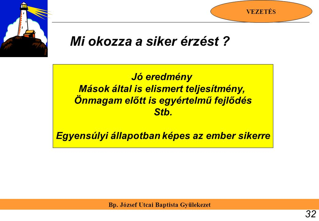 Bp. József Utcai Baptista Gyülekezet VEZETÉS 32 Jó eredmény Mások által is elismert teljesítmény, Önmagam előtt is egyértelmű fejlődés Stb. Egyensúlyi