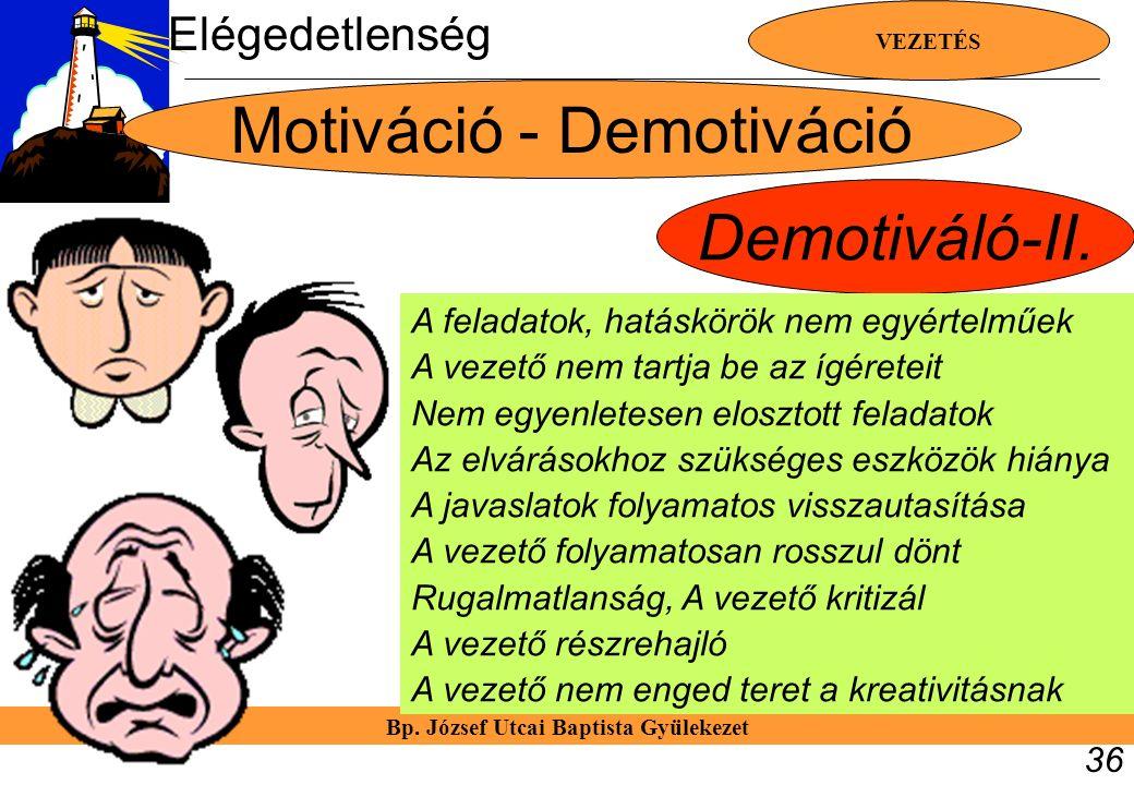 Bp. József Utcai Baptista Gyülekezet VEZETÉS 36 Motiváció - Demotiváció Demotiváló-II. A feladatok, hatáskörök nem egyértelműek A vezető nem tartja be