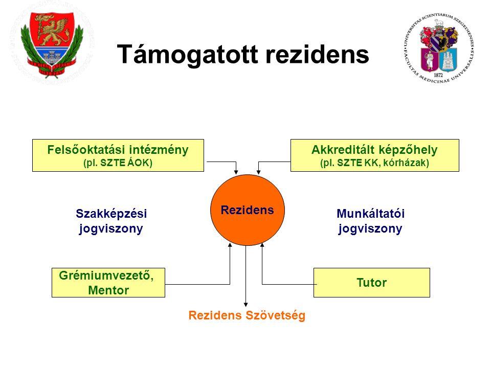 Támogatott rezidens Rezidens Felsőoktatási intézmény (pl.
