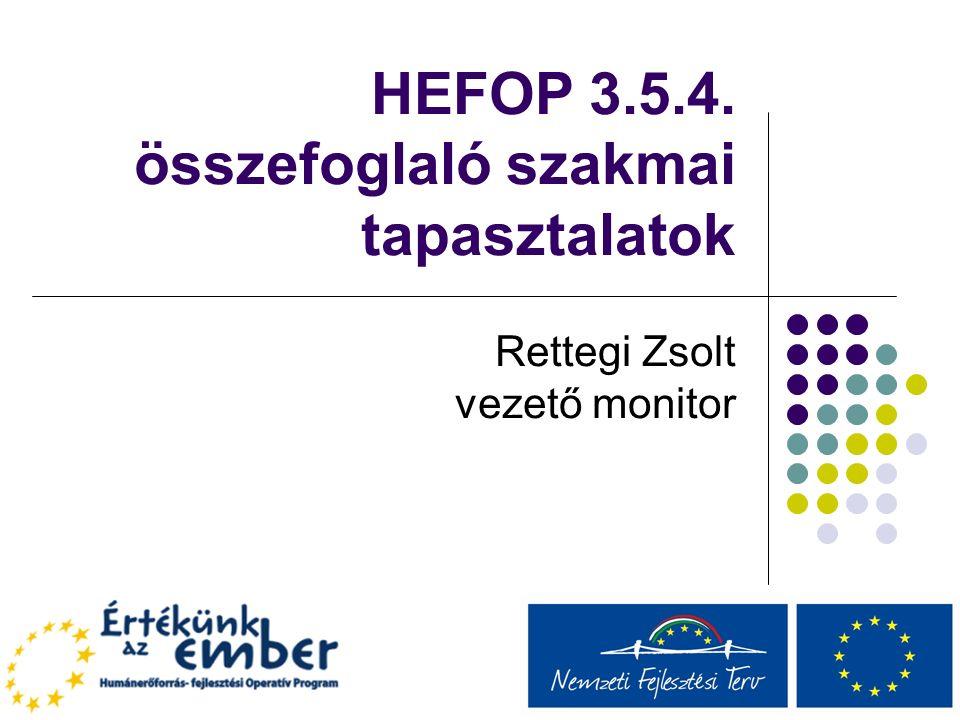 HEFOP 3.5.4. összefoglaló szakmai tapasztalatok Rettegi Zsolt vezető monitor