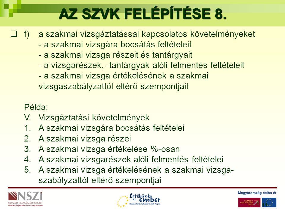 11 AZ SZVK FELÉPÍTÉSE 8.