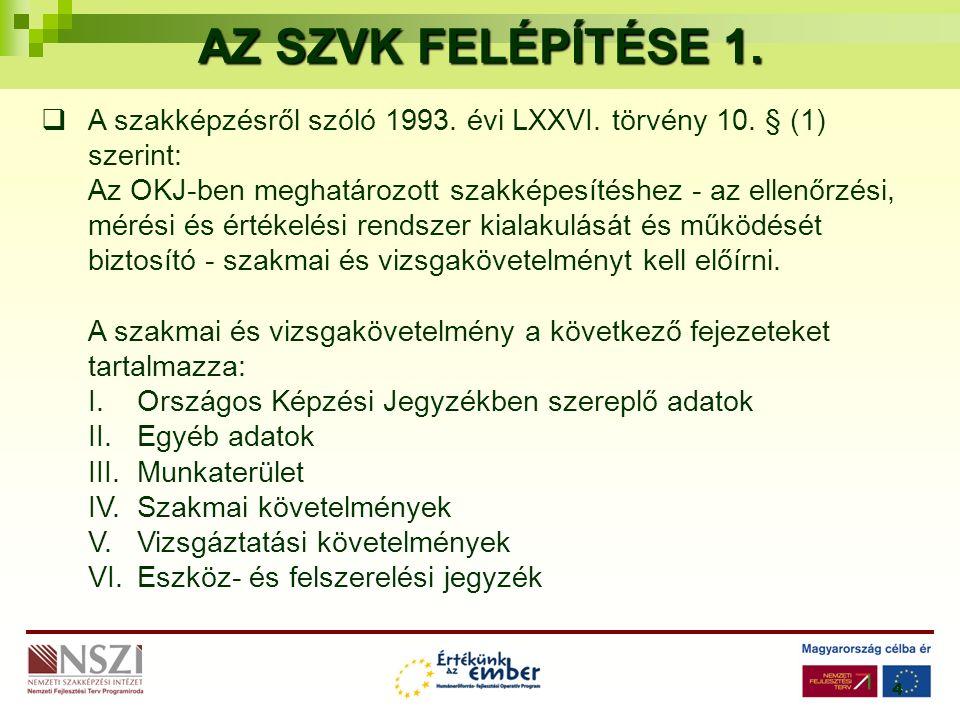 4 AZ SZVK FELÉPÍTÉSE 1.  A szakképzésről szóló 1993.