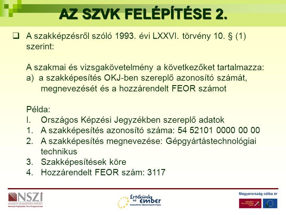 5 AZ SZVK FELÉPÍTÉSE 2.  A szakképzésről szóló 1993.