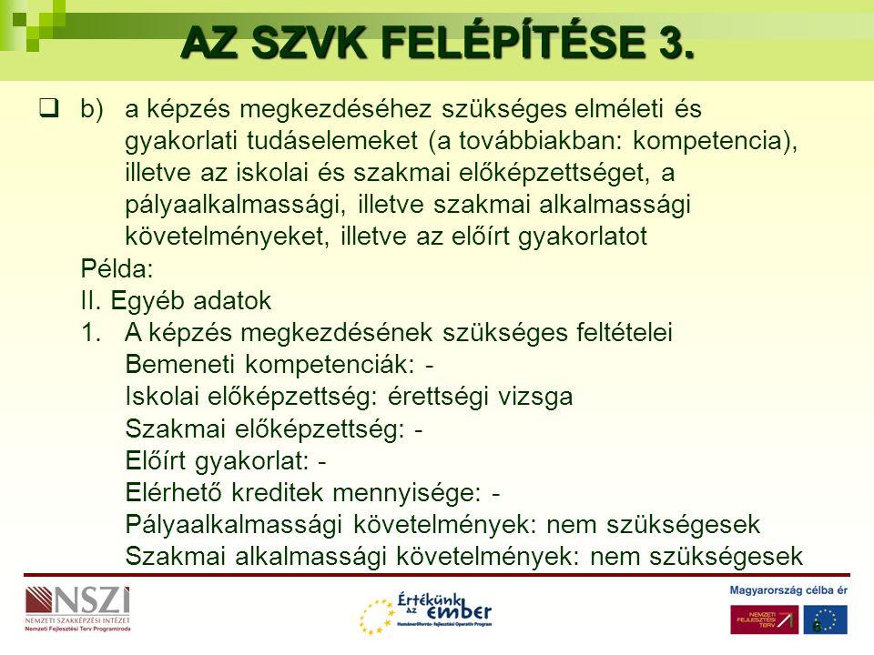 6 AZ SZVK FELÉPÍTÉSE 3.