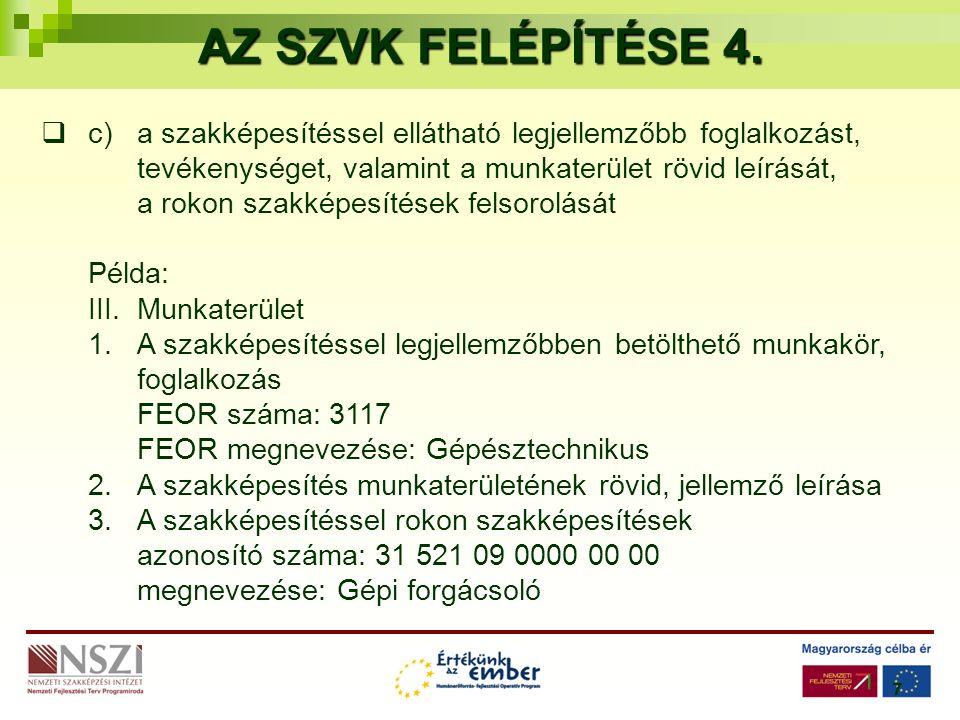 7 AZ SZVK FELÉPÍTÉSE 4.