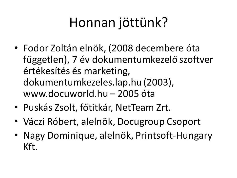 Honnan jöttünk? Fodor Zoltán elnök, (2008 decembere óta független), 7 év dokumentumkezelő szoftver értékesítés és marketing, dokumentumkezeles.lap.hu