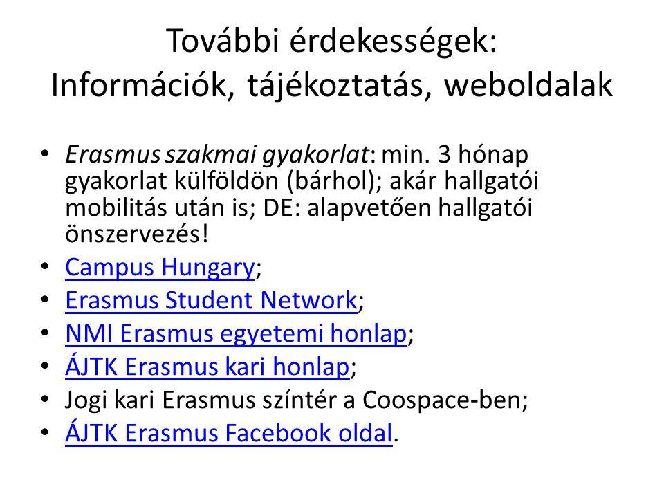 További érdekességek: Információk, tájékoztatás, weboldalak Erasmus szakmai gyakorlat: min.