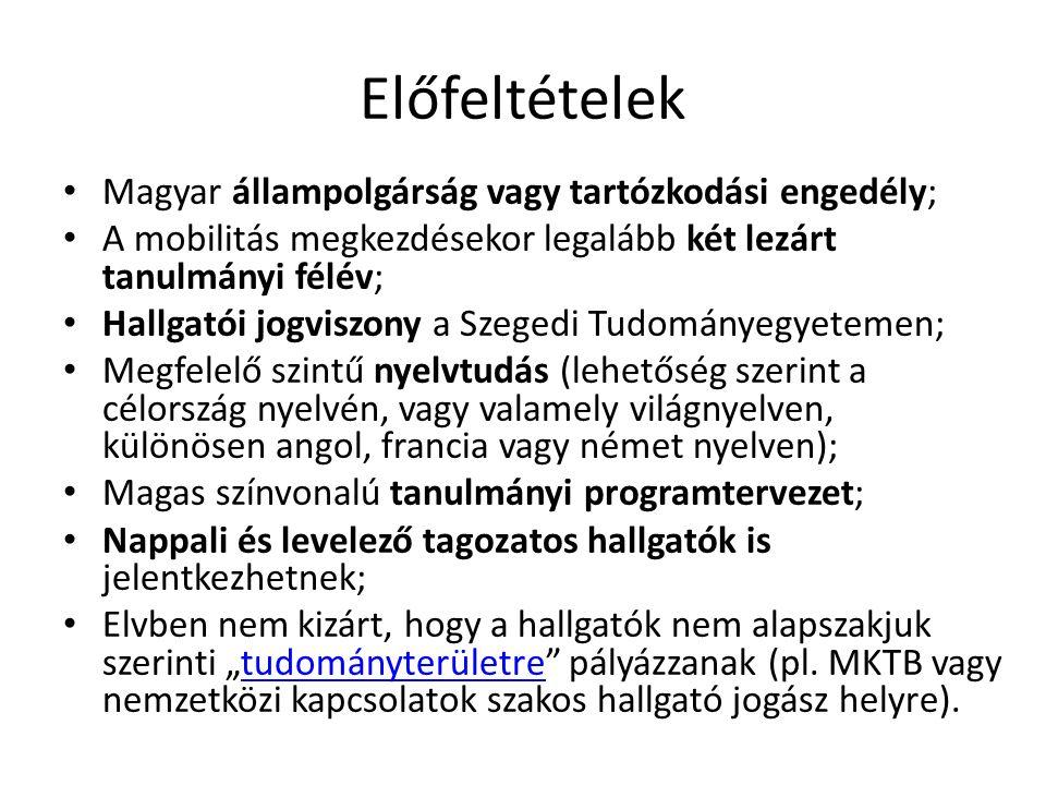 """Előfeltételek Magyar állampolgárság vagy tartózkodási engedély; A mobilitás megkezdésekor legalább két lezárt tanulmányi félév; Hallgatói jogviszony a Szegedi Tudományegyetemen; Megfelelő szintű nyelvtudás (lehetőség szerint a célország nyelvén, vagy valamely világnyelven, különösen angol, francia vagy német nyelven); Magas színvonalú tanulmányi programtervezet; Nappali és levelező tagozatos hallgatók is jelentkezhetnek; Elvben nem kizárt, hogy a hallgatók nem alapszakjuk szerinti """"tudományterületre pályázzanak (pl."""