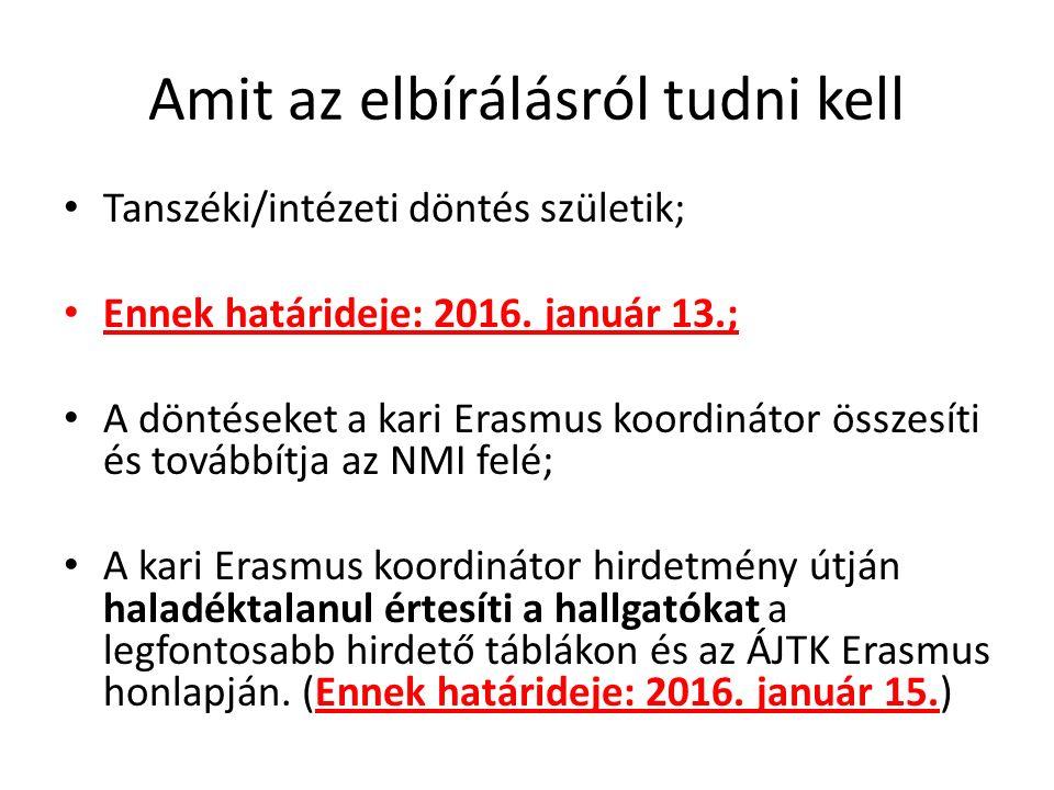 Amit az elbírálásról tudni kell Tanszéki/intézeti döntés születik; Ennek határideje: 2016.