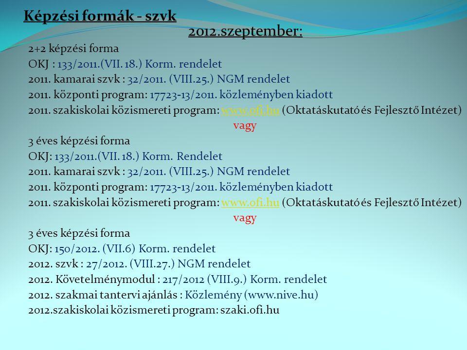 Képzési formák - szvk 2012.szeptember: 2+2 képzési forma OKJ : 133/2011.(VII.