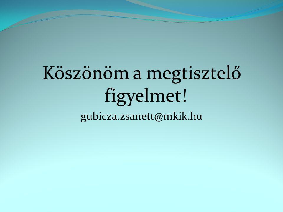Köszönöm a megtisztelő figyelmet! gubicza.zsanett@mkik.hu