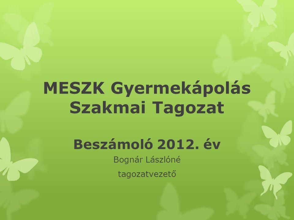 MESZK Gyermekápolás Szakmai Tagozat Beszámoló 2012. év Bognár Lászlóné tagozatvezető