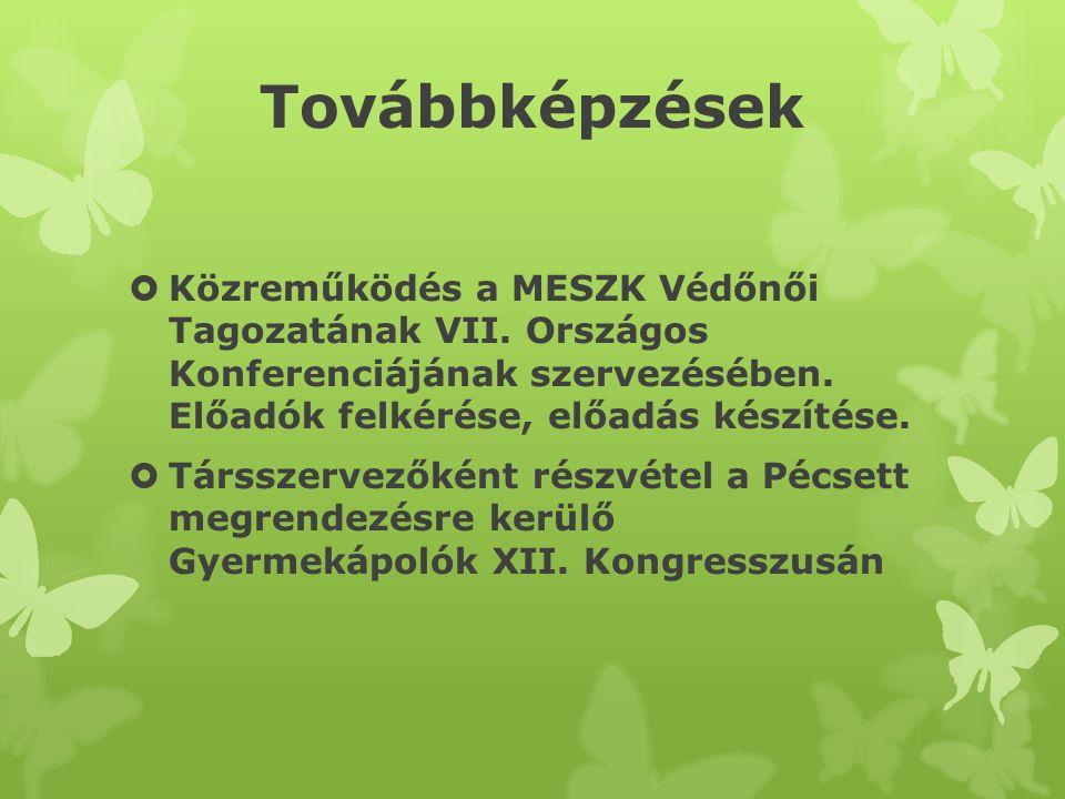 Továbbképzések  Közreműködés a MESZK Védőnői Tagozatának VII. Országos Konferenciájának szervezésében. Előadók felkérése, előadás készítése.  Társsz