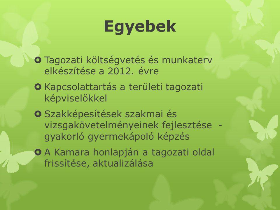 Egyebek  Tagozati költségvetés és munkaterv elkészítése a 2012. évre  Kapcsolattartás a területi tagozati képviselőkkel  Szakképesítések szakmai és