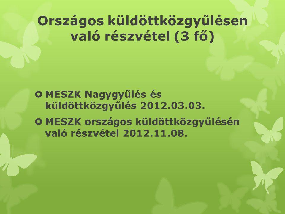 Országos küldöttközgyűlésen való részvétel (3 fő)  MESZK Nagygyűlés és küldöttközgyűlés 2012.03.03.