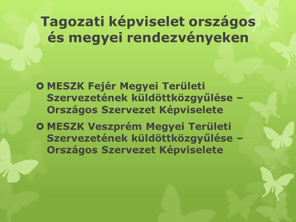 Tagozati képviselet országos és megyei rendezvényeken  MESZK Fejér Megyei Területi Szervezetének küldöttközgyűlése – Országos Szervezet Képviselete 