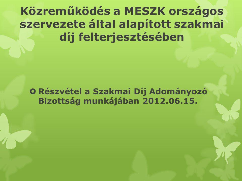 Közreműködés a MESZK országos szervezete által alapított szakmai díj felterjesztésében  Részvétel a Szakmai Díj Adományozó Bizottság munkájában 2012.