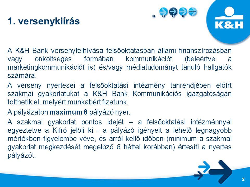 1. versenykiírás A K&H Bank versenyfelhívása felsőoktatásban állami finanszírozásban vagy önköltséges formában kommunikációt (beleértve a marketingkom