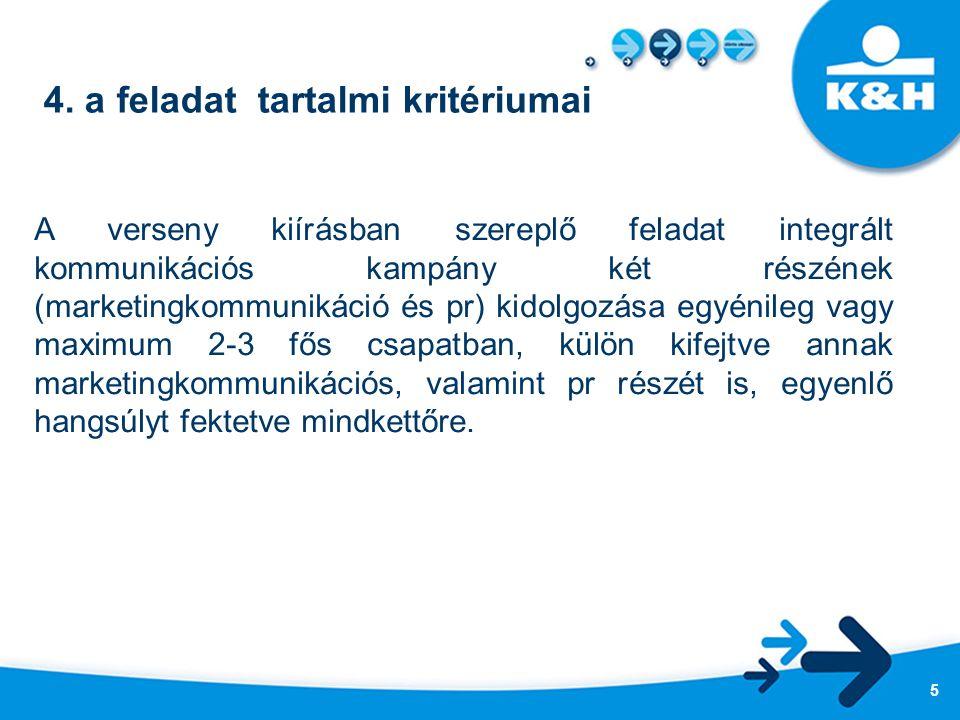 4. a feladat tartalmi kritériumai A verseny kiírásban szereplő feladat integrált kommunikációs kampány két részének (marketingkommunikáció és pr) kido