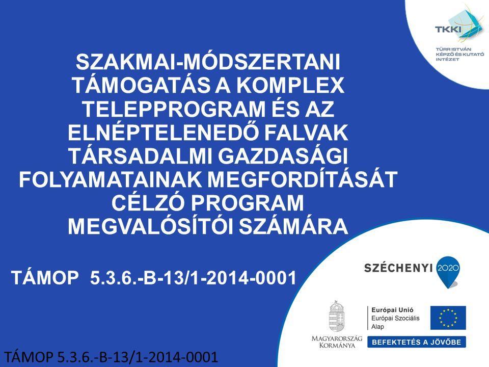 TÁMOP 5.3.6.-B-13/1-2014-0001 SZAKMAI-MÓDSZERTANI TÁMOGATÁS A KOMPLEX TELEPPROGRAM ÉS AZ ELNÉPTELENEDŐ FALVAK TÁRSADALMI GAZDASÁGI FOLYAMATAINAK MEGFORDÍTÁSÁT CÉLZÓ PROGRAM MEGVALÓSÍTÓI SZÁMÁRA TÁMOP 5.3.6.-B-13/1-2014-0001