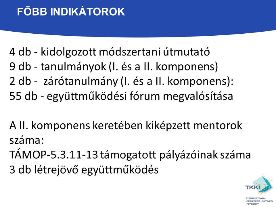 FŐBB INDIKÁTOROK 4 db - kidolgozott módszertani útmutató 9 db - tanulmányok (I.