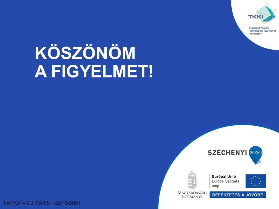 KÖSZÖNÖM A FIGYELMET! TÁMOP–3.3.13-13/1-2013-0001