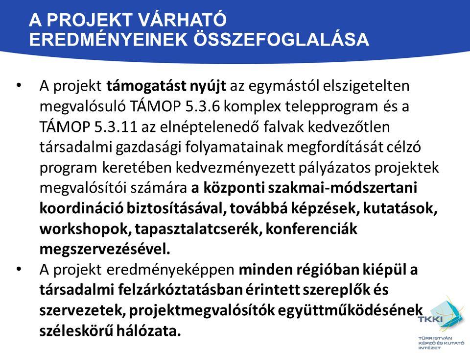 A PROJEKT VÁRHATÓ EREDMÉNYEINEK ÖSSZEFOGLALÁSA A projekt támogatást nyújt az egymástól elszigetelten megvalósuló TÁMOP 5.3.6 komplex telepprogram és a TÁMOP 5.3.11 az elnéptelenedő falvak kedvezőtlen társadalmi gazdasági folyamatainak megfordítását célzó program keretében kedvezményezett pályázatos projektek megvalósítói számára a központi szakmai-módszertani koordináció biztosításával, továbbá képzések, kutatások, workshopok, tapasztalatcserék, konferenciák megszervezésével.