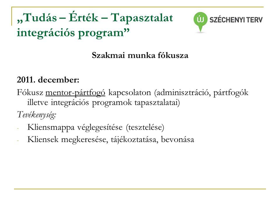 """""""Tudás – Érték – Tapasztalat integrációs program Szakmai munka fókusza 2011."""