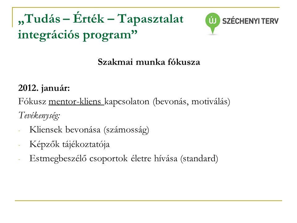 """""""Tudás – Érték – Tapasztalat integrációs program Szakmai munka fókusza 2012."""