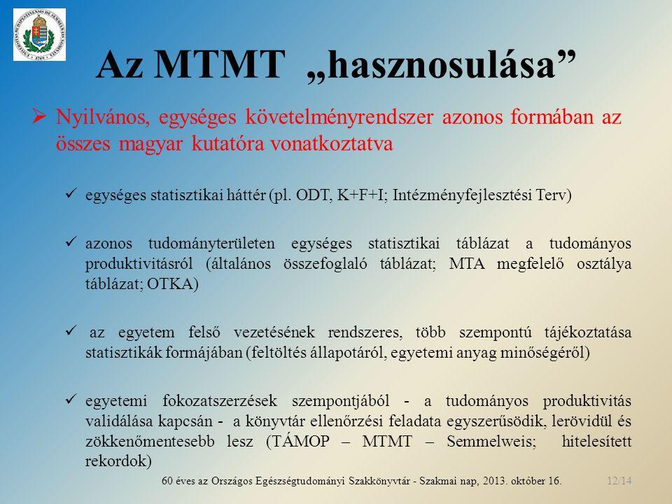 """Az MTMT """"hasznosulása  Nyilvános, egységes követelményrendszer azonos formában az összes magyar kutatóra vonatkoztatva egységes statisztikai háttér (pl."""