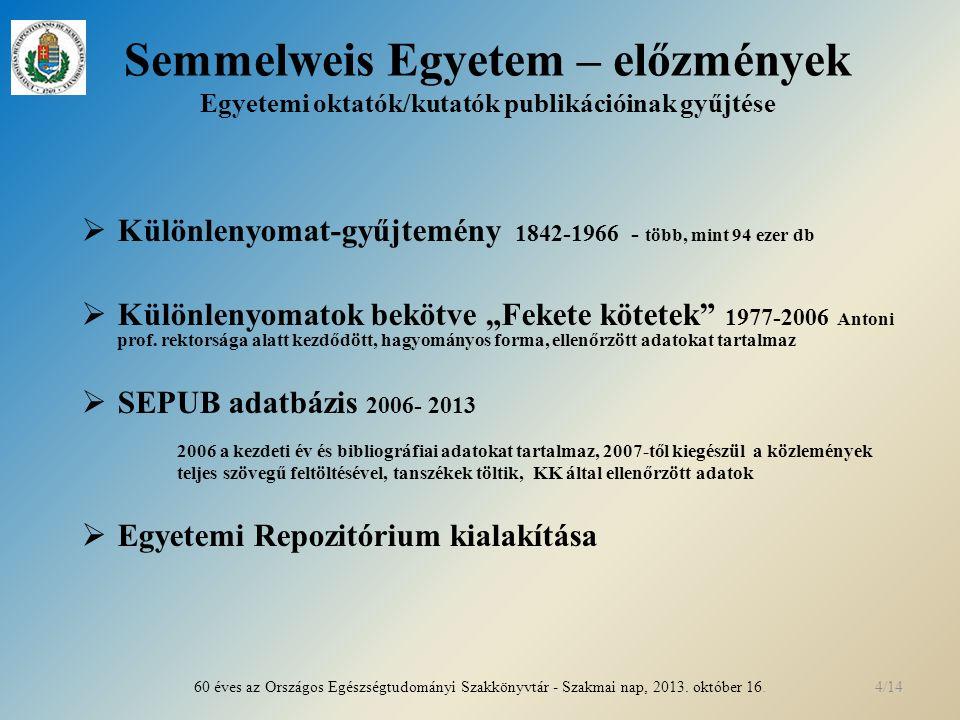 """Semmelweis Egyetem – előzmények Egyetemi oktatók/kutatók publikációinak gyűjtése  Különlenyomat-gyűjtemény 1842-1966 - több, mint 94 ezer db  Különlenyomatok bekötve """"Fekete kötetek 1977-2006 Antoni prof."""