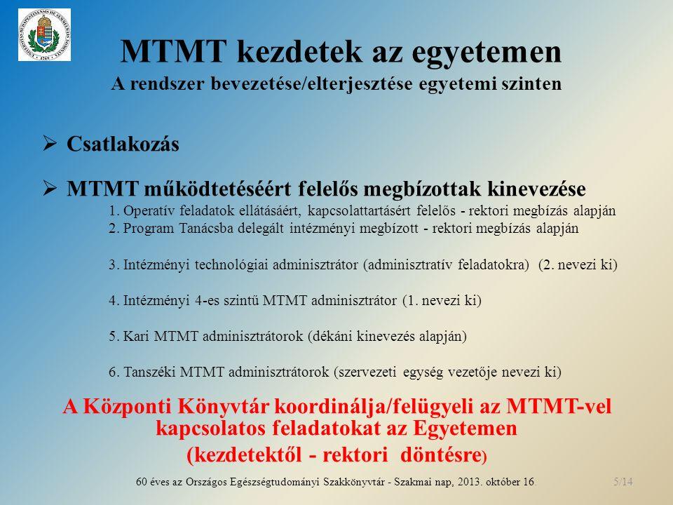MTMT kezdetek az egyetemen A rendszer bevezetése/elterjesztése egyetemi szinten  Csatlakozás  MTMT működtetéséért felelős megbízottak kinevezése 1.