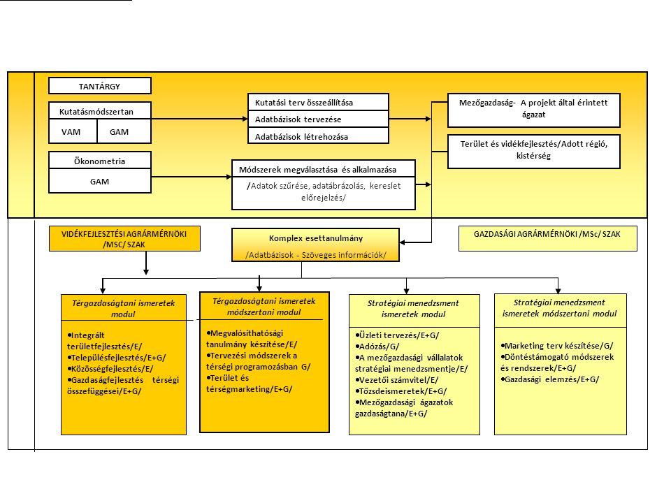 TANTÁRGY Kutatásmódszertan VAM GAM Ökonometria GAM Kutatási terv összeállítása Adatbázisok tervezése Adatbázisok létrehozása Módszerek megválasztása é