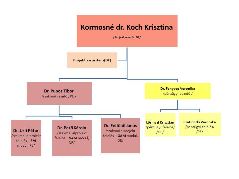 Kormosné dr. Koch Krisztina /Projektvezető, DE/ Dr. Pupos Tibor /szakmai vezető, PE / Dr. Urfi Péter /szakmai alprojekt felelős – FM modul, PE/ Dr. Pe